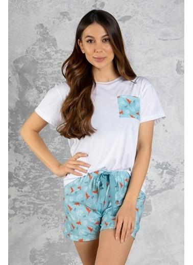 Katia & Bony Exotica şortlu Kadın Pijama Takımı - Beyaz Beyaz